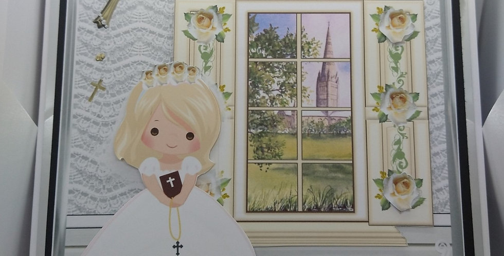 First Holy Communion Blonde Haired Girl 8x8