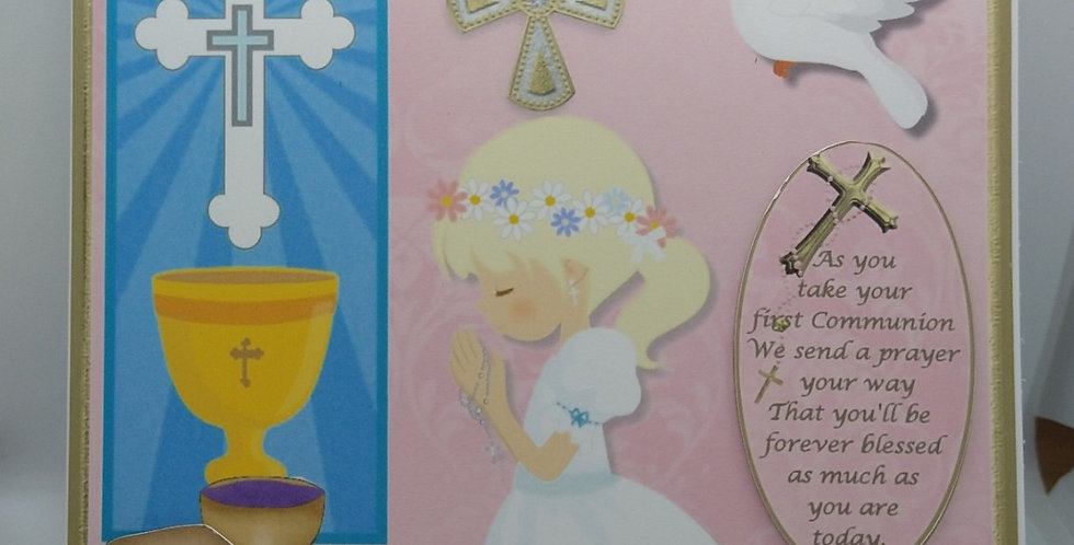 First Holy Communion Blonde Haired Girl 6x6