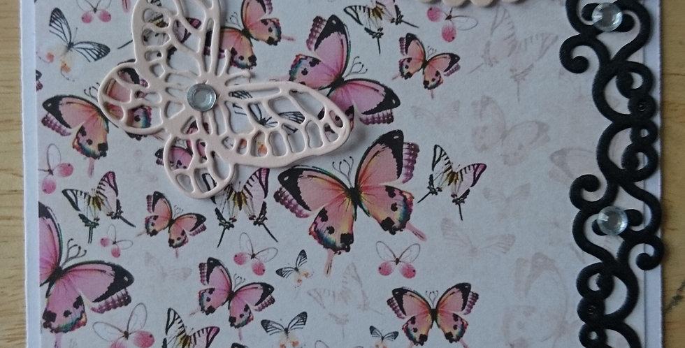 Beautiful Butterflies Black Satin trim Open or personalised