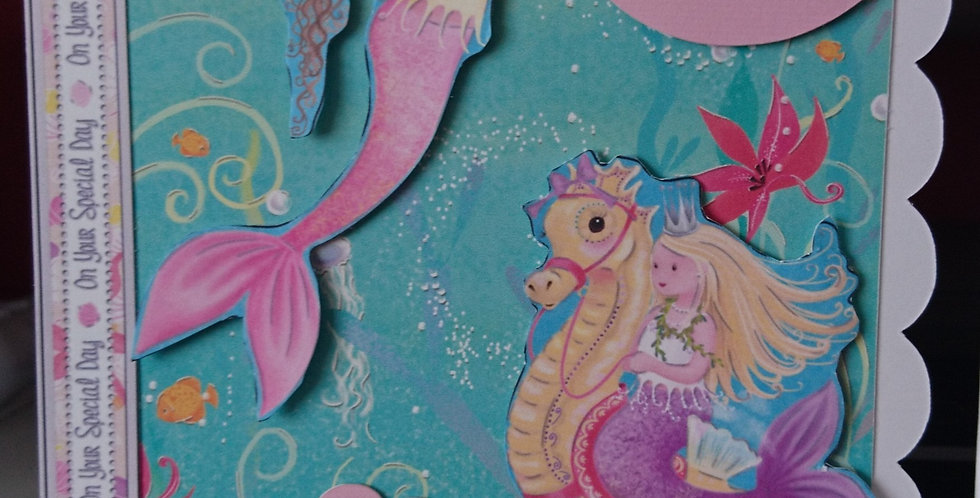 Girls 5x7 Birthday Card Mermaids
