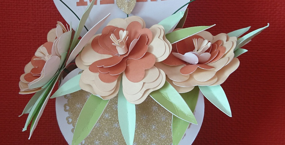 Handmade Paper Flowers and Vase Orange and Gold