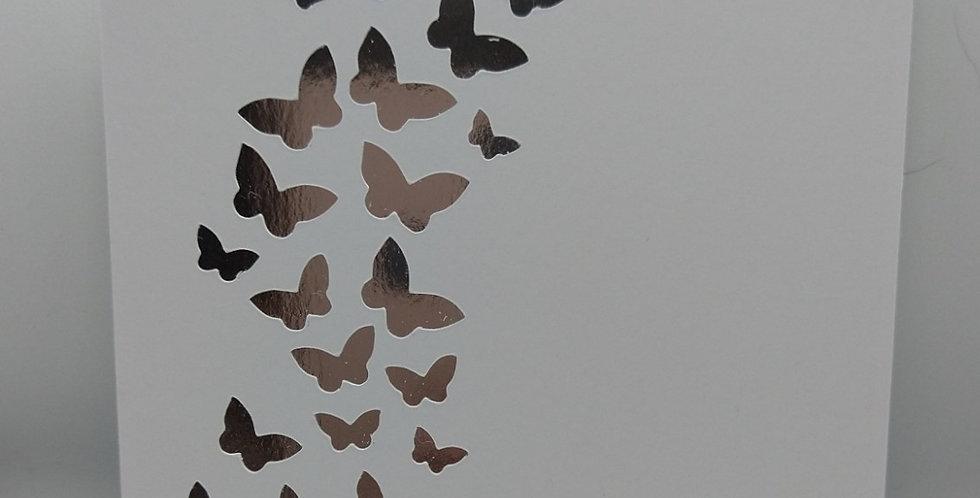 Handmade Silver Butterflies Wedding Invitations