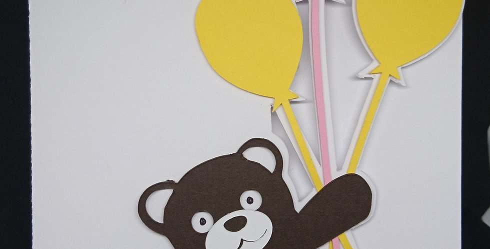 Bear with Balloons Age Card