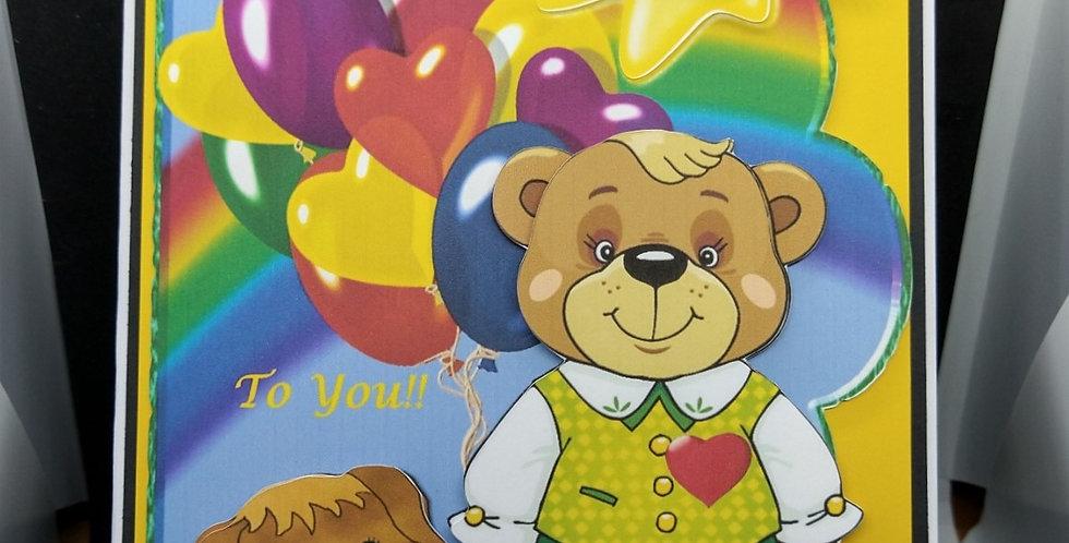 Over The Rainbow Boys A5 Birthday Card