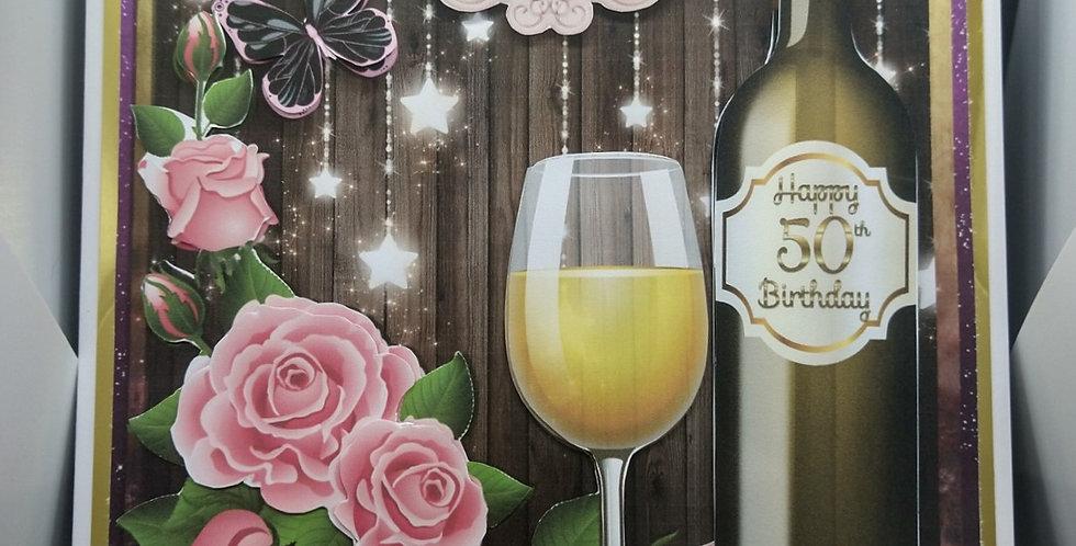 8x8 Milestone AgesLuxury Birthday Card Wine Choice of Female Recipients or Open