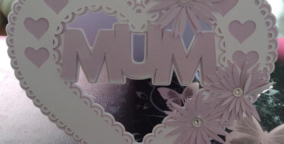 Mum Heart Shaped 6x6 Birthday Card