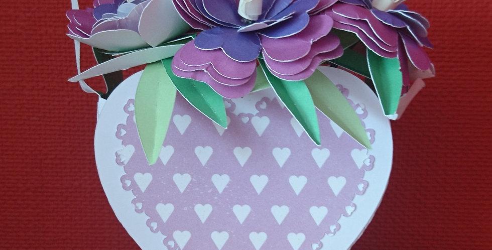 Handmade Paper Flowers and Vase Purple