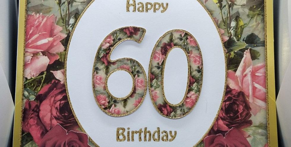 8x8 Any Age Birthday Card Roses
