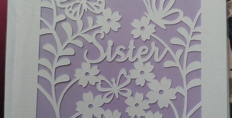 Sister Cutout 6x6 Birthday Card