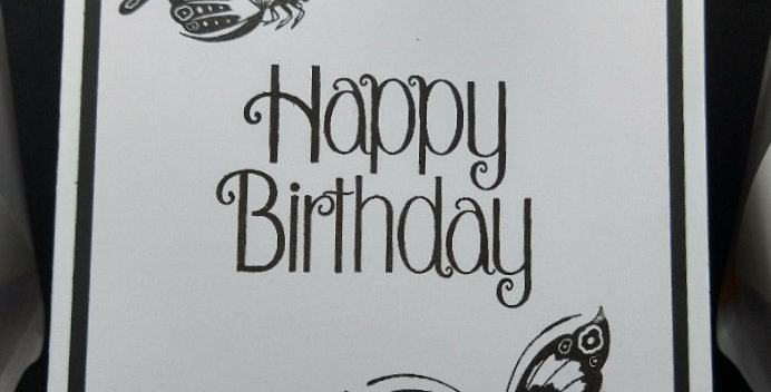 Black and White A5 Birthday Butterlies Card