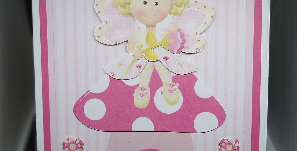 A5 Fairy on Toadstool Birthday Card For Granddaughter