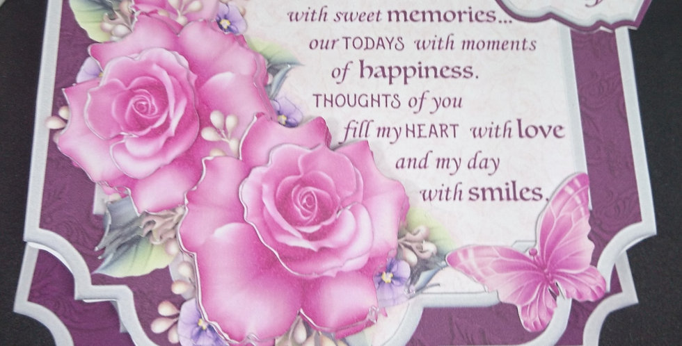 Luxury Easel Mothers Day Card Pink Roses Verse