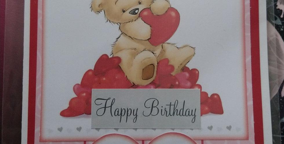 A5 Birthday Card Bear With Hearts Wife