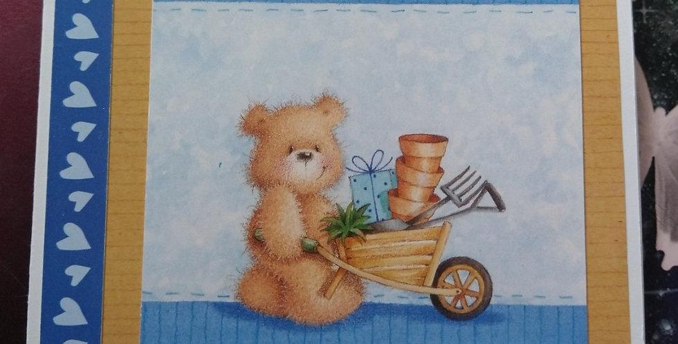 Bear Gardener Popup A5 Birthday Card