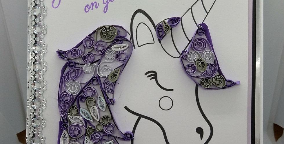 Quilled Unicorn A5 Birthday Card Purple Sparkle