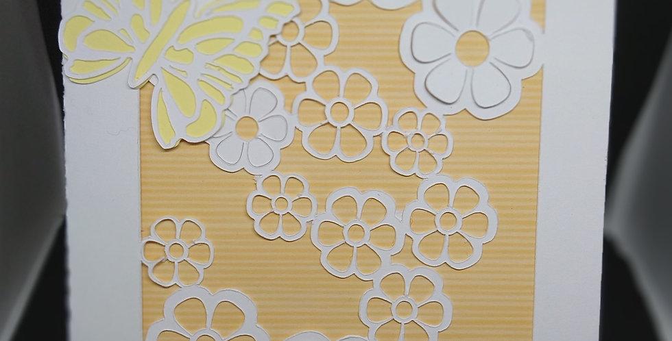 5x7 Flower Cascade and Butterflies Rose Gold BirthdayCard