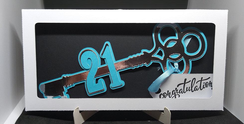21st Birthday Key Gift Keepsake Blue and Silver