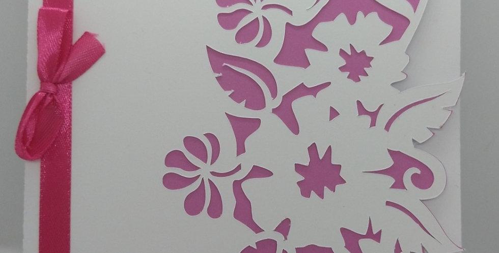 Pretty Simple Flower Cutout Pink A5 Birthday Card