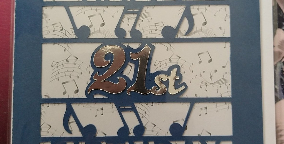 Musical Notes 21st Birthday Card