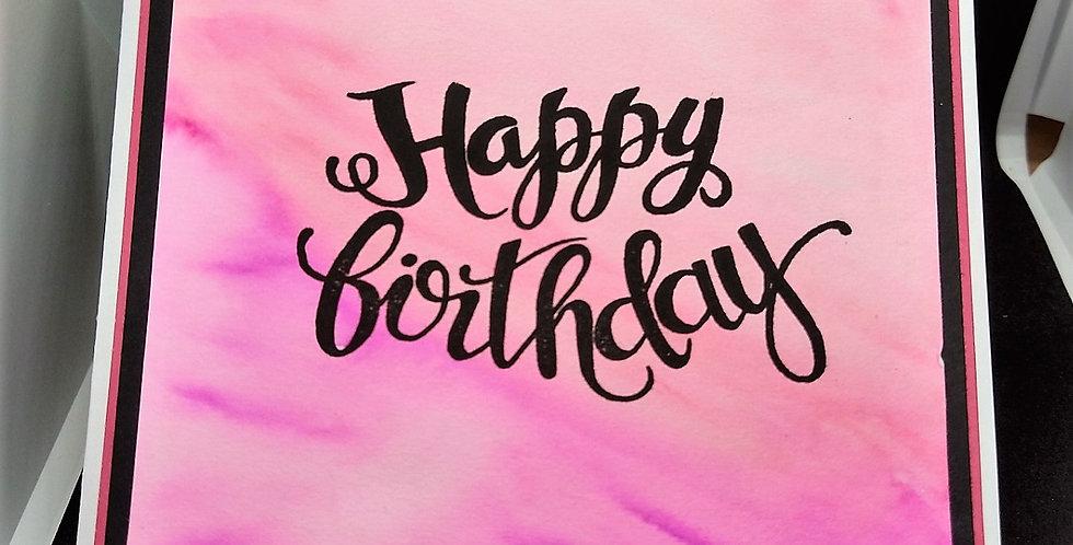 Waterclolour Background 6x6 Birthday Card Pink