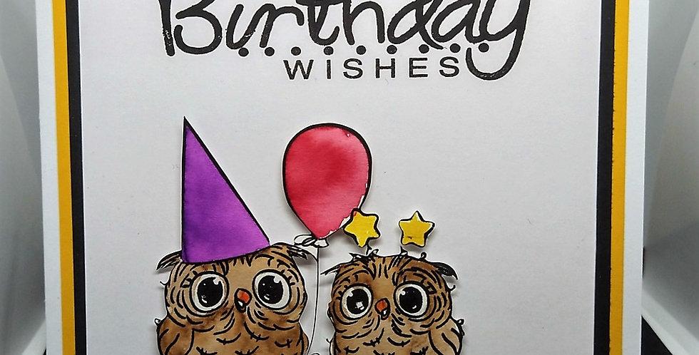 Waterclolour Owls 6x6 Birthday Card