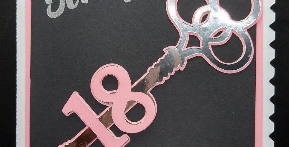 18th Key A5 Birthday Card Pink