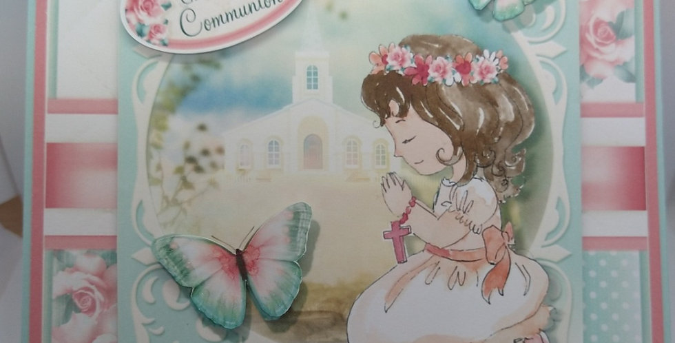 First Holy Communion Brown Haired Girl 6x6