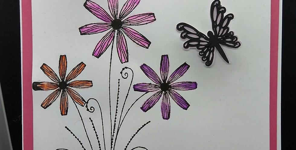 Waterclolour A5 Birthday Card Flowers