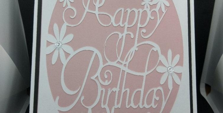 Happy Birthday Cutout A5 Birthday Card Pink