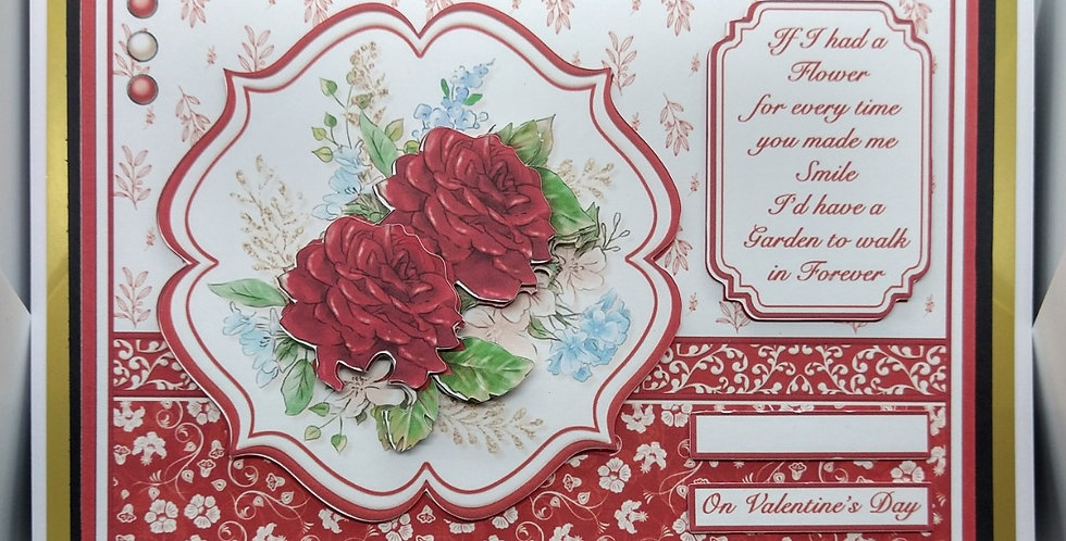 Valentines A5 Rose Spray Landscape Card