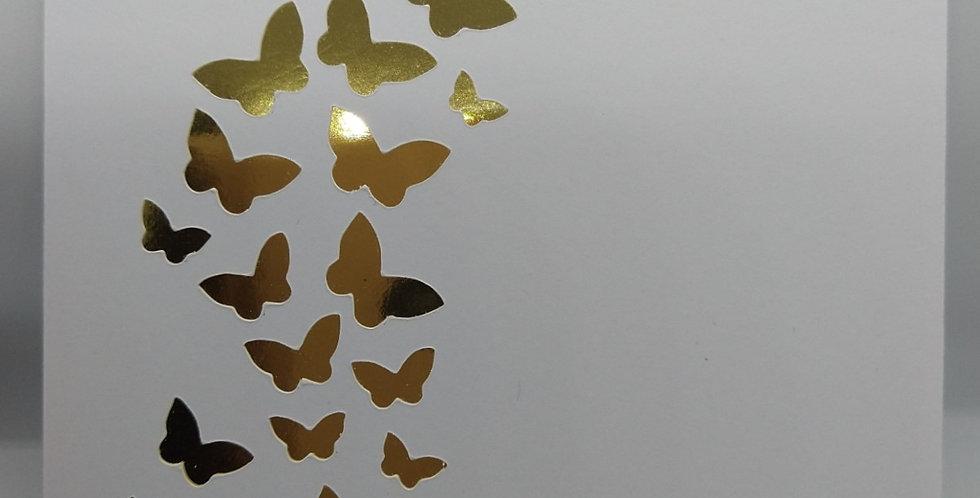 Handmade Gold Butterflies Wedding Invitations