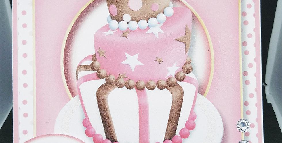 Birthday Cupcake 6x6 Card Various Recipients Pink or Lilac