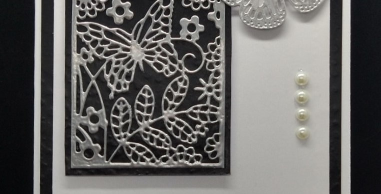 Butterfly Panel 5x7 Birthday Card Silver and Black