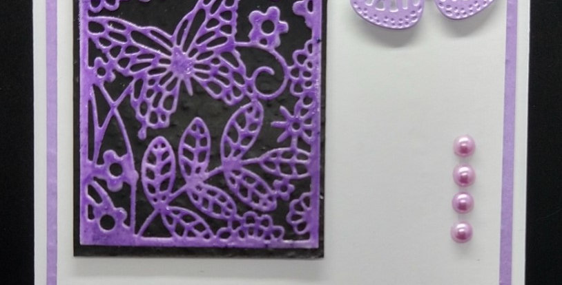 Butterfly Panel 5x7 Birthday Card Lilac and Black