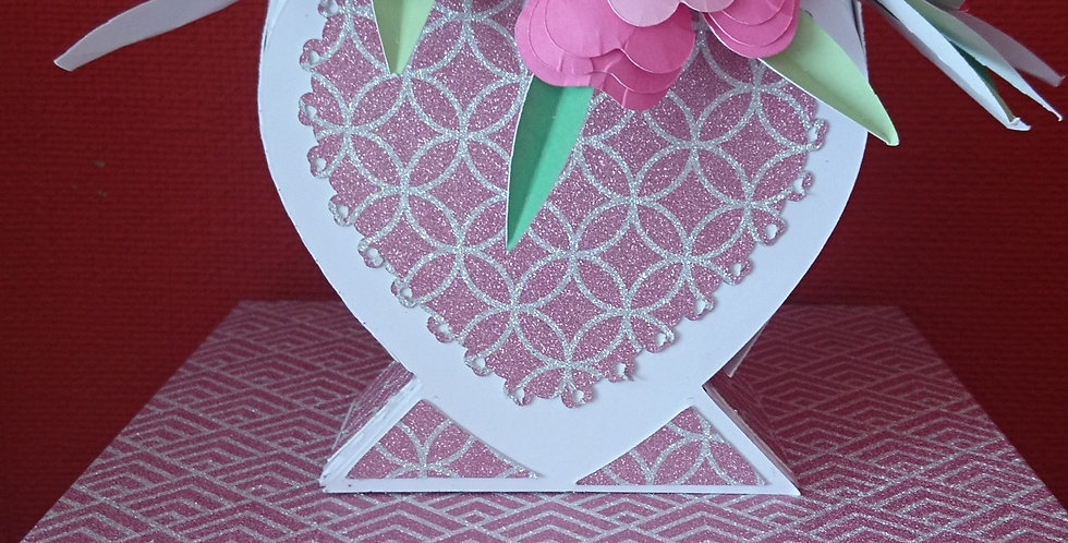 Handmade Paper Flowers and Vase Pink