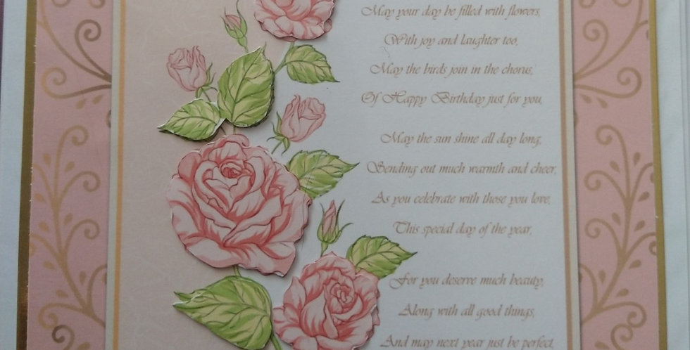 Pink Rose Verse Front 6x6 Birthday Card