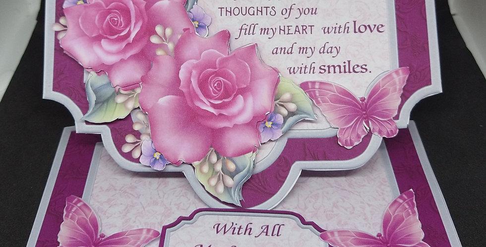 Luxury Easel Birthday Card Pink Roses Verse