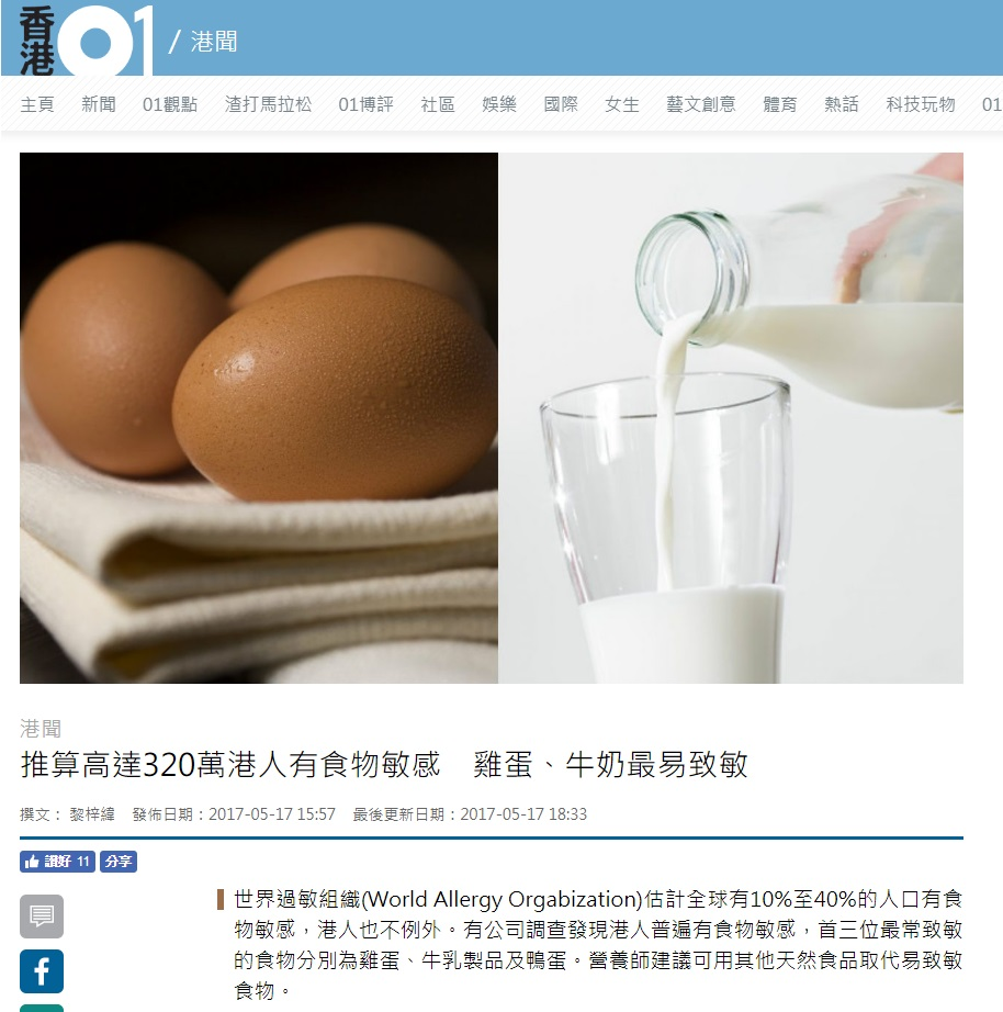 推算高達320萬港人有食物敏感 雞蛋、牛奶最易致敏