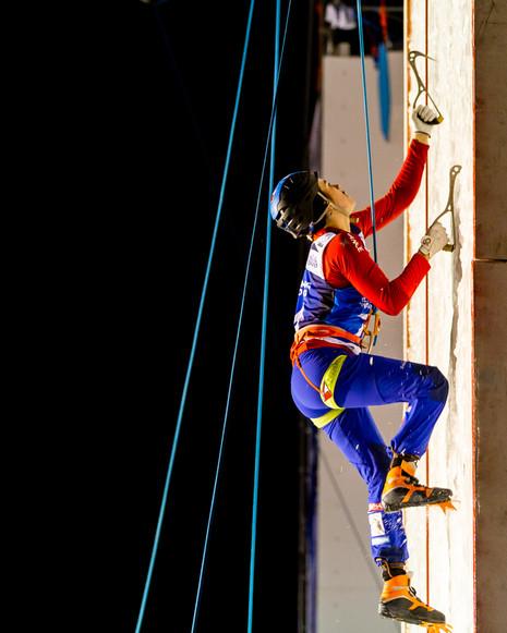 Marion Thomas (FRA), 2019 UIAA Ice Climbing World Cup, Denver, USA, Feb 23-24, 2019, Denver, Colo.