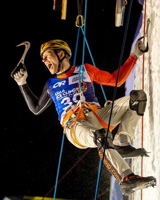 Nikolay Primerov (RUS), 2019 UIAA Ice Climbing World Cup, Denver, USA, Feb 23-24, 2019, Denver, Colo.