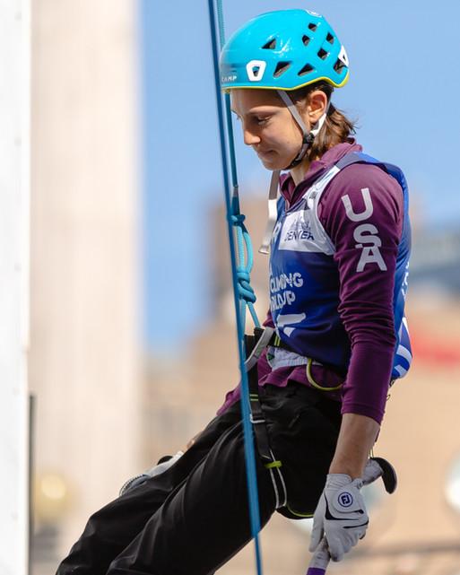 Amity Warme (USA), 2019 UIAA Ice Climbing World Cup, Denver, USA, Feb 23-24, 2019