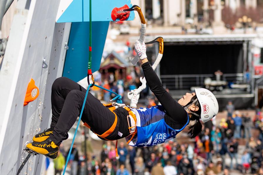 Haruko Takeuchi (JPN), 2019 UIAA Ice Climbing World Cup, Denver, USA, Feb 23-24, 2019, Denver, Colo.