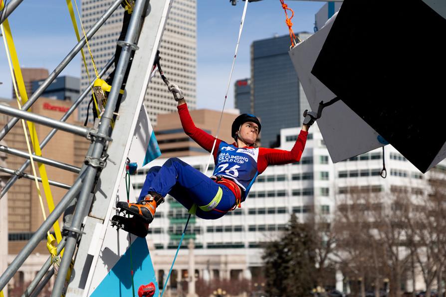 Marion Thomasi (FRA), 2019 UIAA Ice Climbing World Cup, Denver, USA, Feb 23-24, 2019, Denver, Colo.