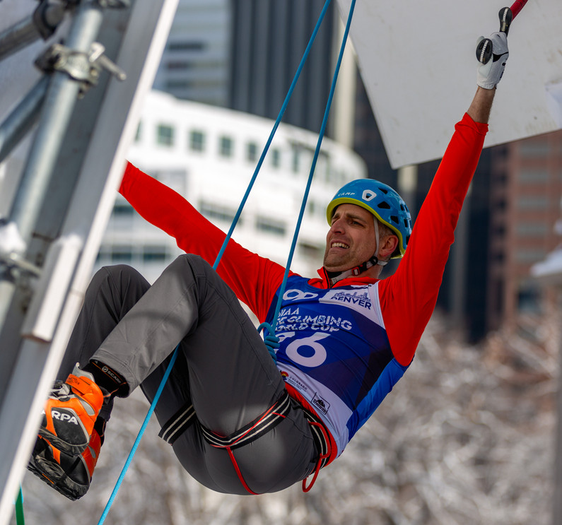 Aaron Montgomery (USA), 2019 UIAA Ice Climbing World Cup, Denver, USA, Feb 23-24, 2019, Denver, Colo.
