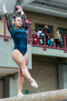 Nikole Addison performs on balance beam and scores 9.800, tied for 6th place.