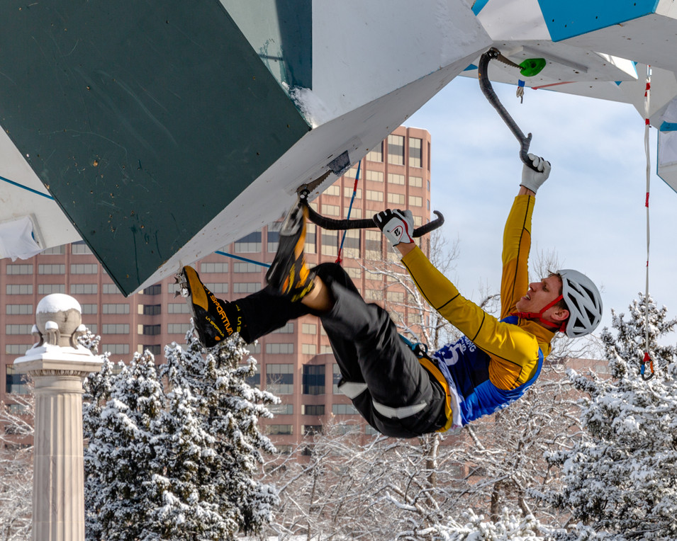 Nikolay Primerov (SUI), 2019 UIAA Ice Climbing World Cup, Denver, USA, Feb 23-24, 2019, Denver, Colo.