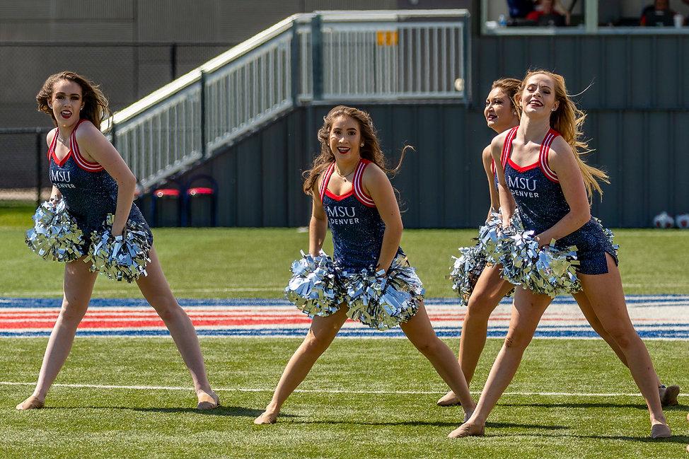 Photograph of MSU Denver Pom Pom Team Performs at break duringmatchbetween MSU Denver Women's Soccer versus St. Mary's (Texas), Regency Athletic Complex, Saturday, Sept. 7, 2019