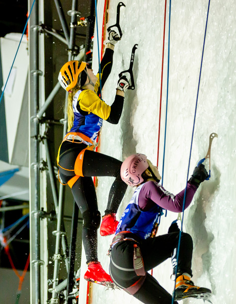 Vivien Labarile (SUI), left,  and Angela Limbach (USA), right, 2019 UIAA Ice Climbing World Cup, Denver, USA, Feb 23-24, 2019