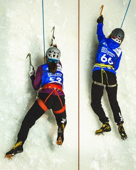 Lindsay Hastings (USA), left,  and Corey Buhay (USA), right, 2019 UIAA Ice Climbing World Cup, Denver, USA, Feb 23-24, 2019