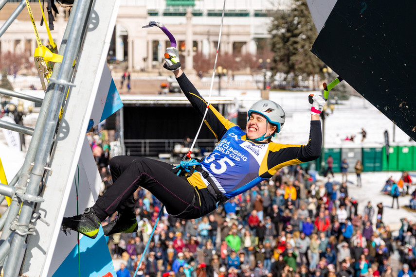 Sina Goetz  (SUI), 2019 UIAA Ice Climbing World Cup, Denver, USA, Feb 23-24, 2019, Denver, Colo.